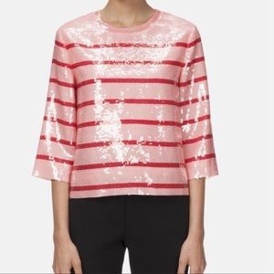 Kate Spade BNWT pink red stripe sequin top size 8